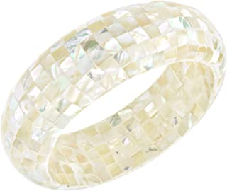 Iridescent Mosaic of White Mother of Pearl Bangle Bracelet