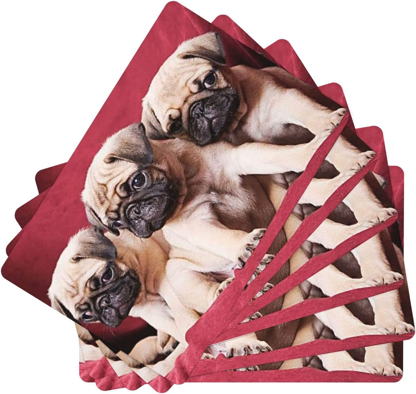 PNdeid Deepouder Pugs Leather Place mats for Large special price Table New Shipping Free Shipping Set of Dining