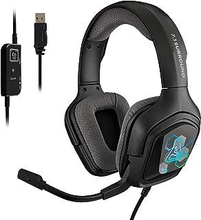 THE G-LAB Korp COBALT 7.1 - Auriculares Gaming con Sonido 7.1 Surround - Auriculares Gaming Audio, Retroiluminación RGB, M...