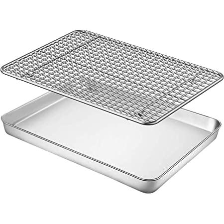 Baking Sheet with Rack Set, Fungun 9 x 7 x1 Stainless Steel Cookie Sheet Baking Pan Oven Tray with Cooling Rack, Non Toxic & Heavy Duty & Easy Clean, Dishwasher Safe