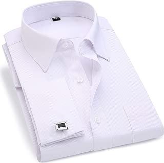 BINJUEMENS Mens French Cuff Regular Fit Long Sleeve Spread-Collar Dress Shirt with Cufflinks