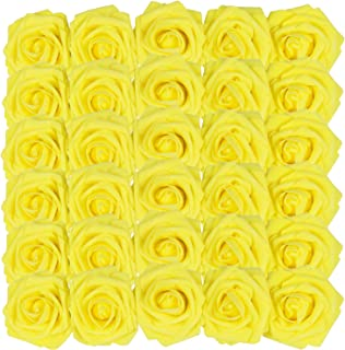 Homcomoda Artificial Rose Flowers with Stem 50pcs Yellow Real Looking Fake Roses for Wedding DIY Bouquets Centerpieces Arrangement Party Home Décor