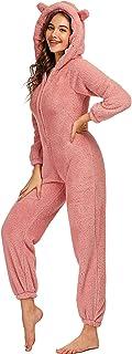 Pijamas de Lana para Mujer, Mono Bonito con Capucha, Cremallera Frontal, Mono cálido y difuso, Mono, Ropa de Dormir, Ropa de casa de Navidad