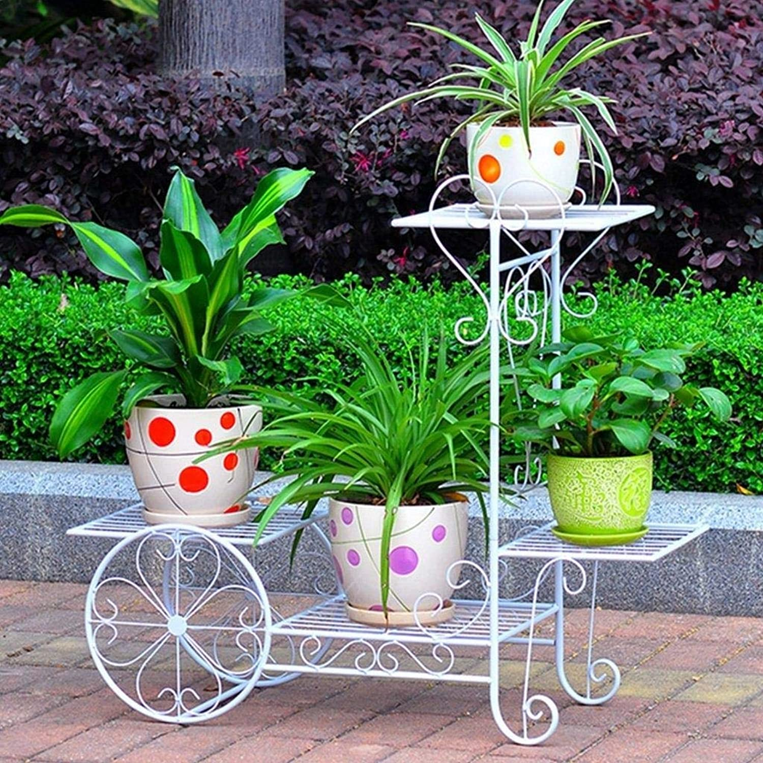Flower Stand - Metal Floor Type Multi-Layer Flower Pot Plant Display Stand, Multi-Function Storage Rack, Garden Cart Rack, Suitable for Family, Garden, Courtyard (color   White, Size   Large)
