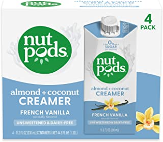 nutpods French Vanilla, (4-Pack), Unsweetened Dairy-Free Creamer, Made from Almonds and Coconuts, Whole30, Gluten Free, No...
