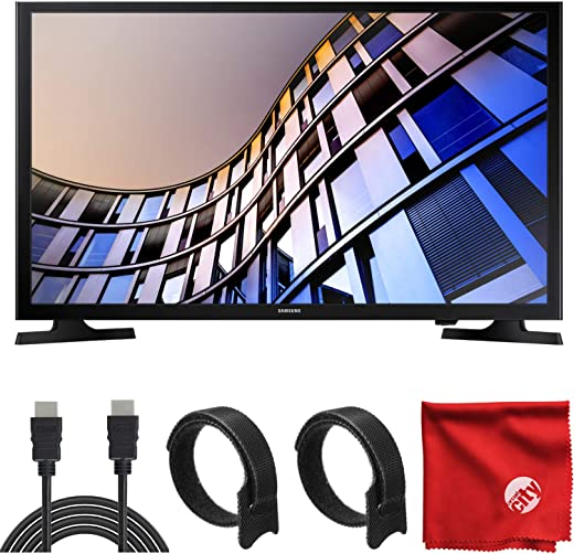 Samsung 32-Inch Class LED M4500 Series 720p HD Flat Smart TV (UN32M4500BFXZA) Built-in USB, HDMI, Dolby Digital Plus Sound, Wi-Fi Bundle with Circuit City 6-Foot 4K HDMI Cable & Accessories (4 Items)