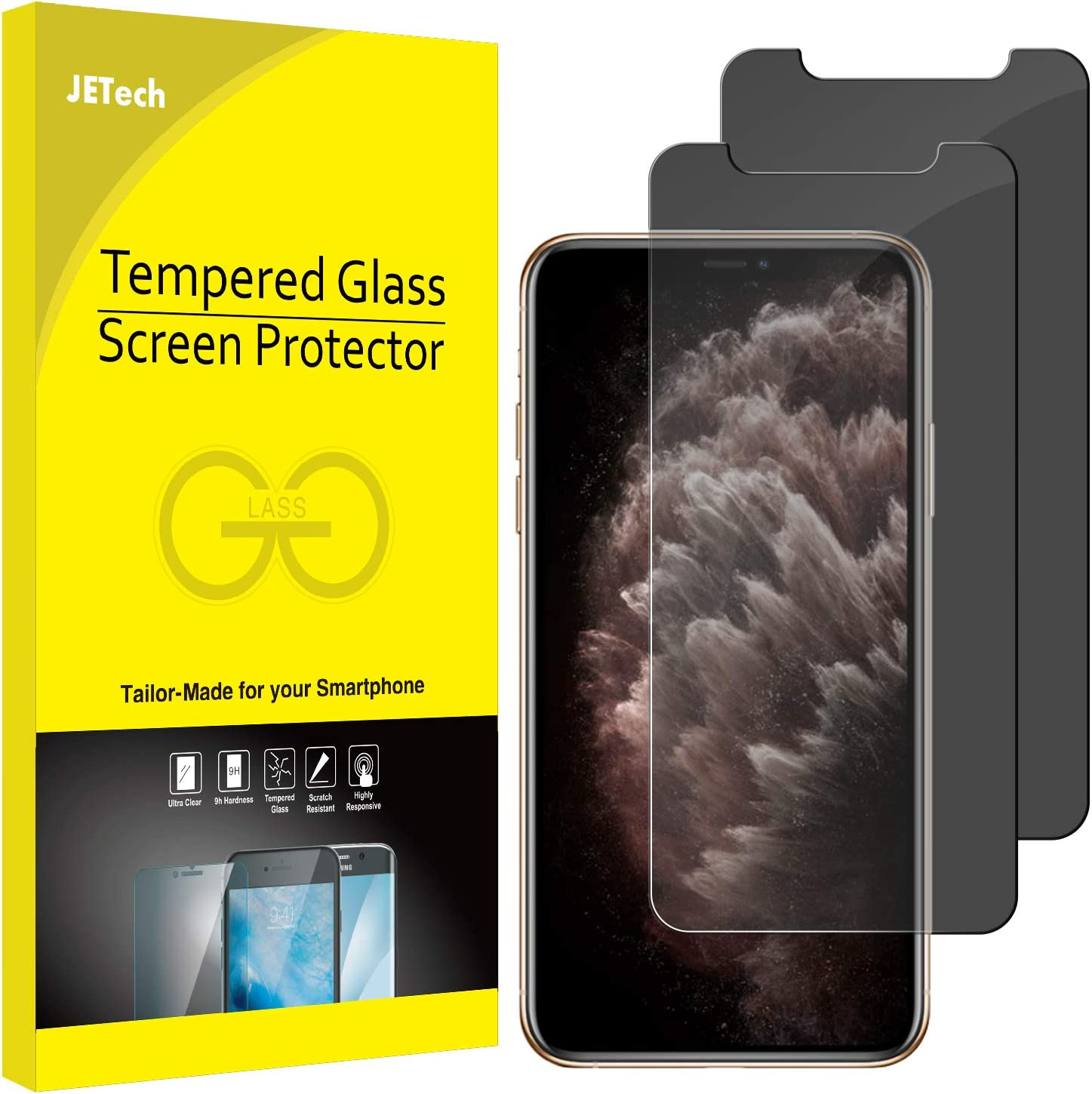 JETech Privacy Screen Protector for iPhone 11 Pro, iPhone Xs and iPhone X 5.8-Inch, Anti Spy Tempered Glass Film, 2-Pack