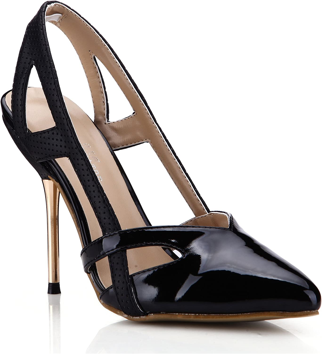 Dolphin Women's Black Hollow Point Toe Pumps High Heel Sandals Cocktail Party Stiletto SM00047