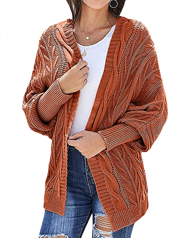 Uifely Women's Open Front Cardigan Cable Knit Chunky Sweaters Coats Casual Long Sleeve Knit Outwear