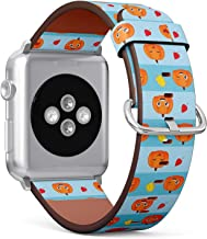 Compatible with Apple Watch (Small 38mm/40mm) Series 1,2,3,4 - Leather Band Bracelet Strap Wristband Replacement - Funny Pumpkins Autumn