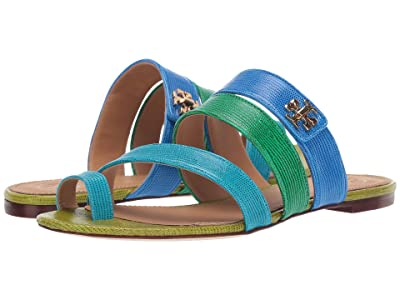 Tory Burch Kira Toe Ring Sandal (Bright Tropical Blue Multi) Women