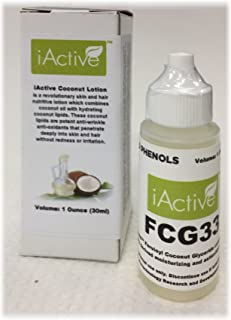 Sponsored Ad - FCG33 Coconut Lipid Anti-wrinkle Antioxidant Lotion for Skin and Hair, 1 Oz, iActive Naturals Coconut Pheno...
