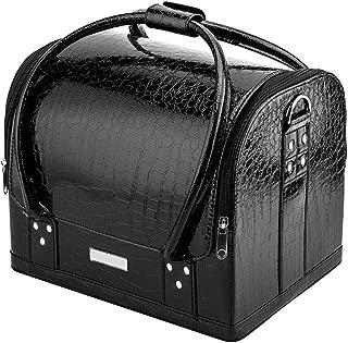 Royalkart Alligator Pattern Makeup Train Case 3 Layer Makeup Organizer Bag With Shoulder Strap Adjustable Dividers For Cosmetics Makeup Brushes Toiletry Jewellery (Black)