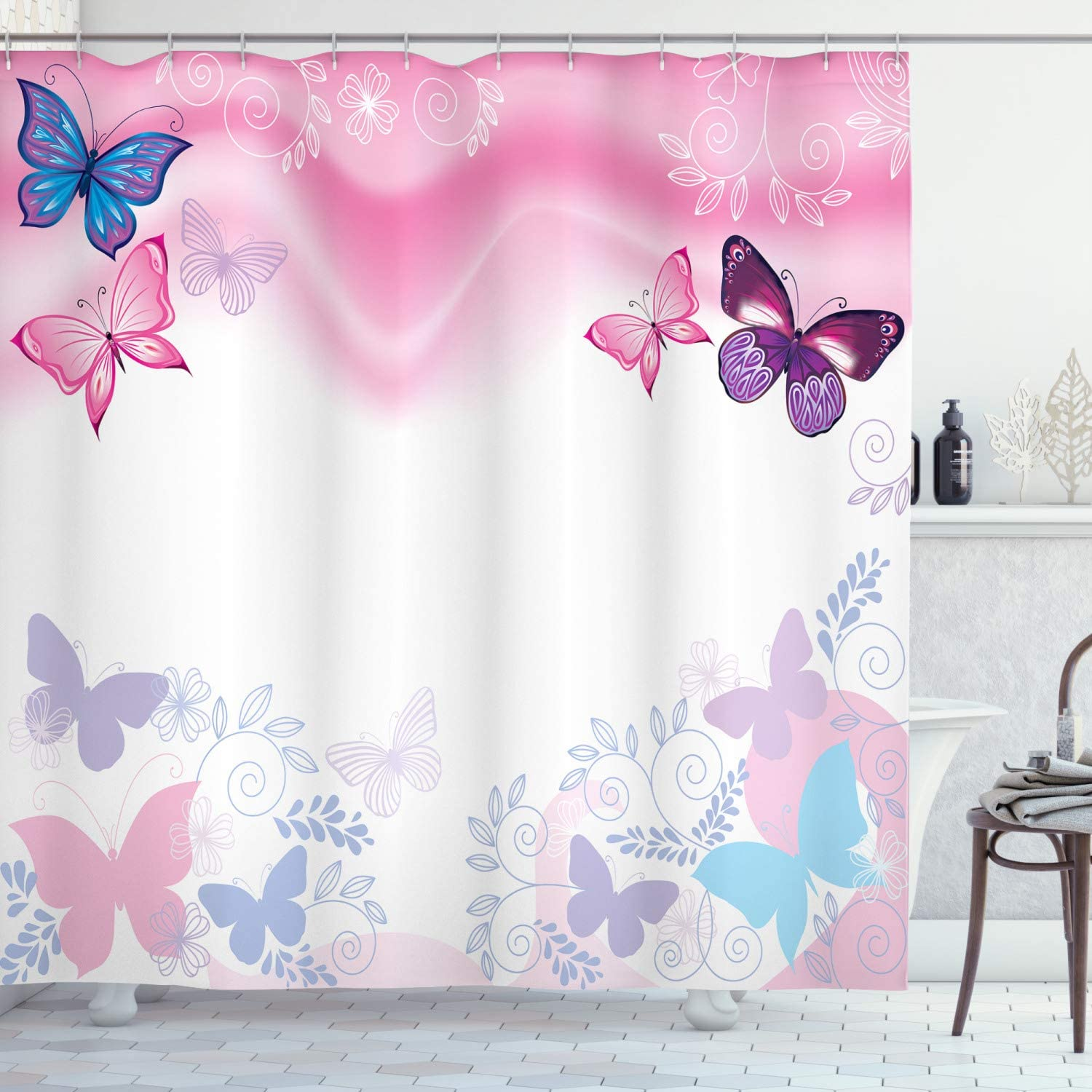 New sales Ambesonne Cartoon Shower Curtain and Butterflies Curly Flowers security