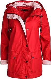 Women's Lightweight Vinyl Hooded Raincoat Jacket, Red, Medium'