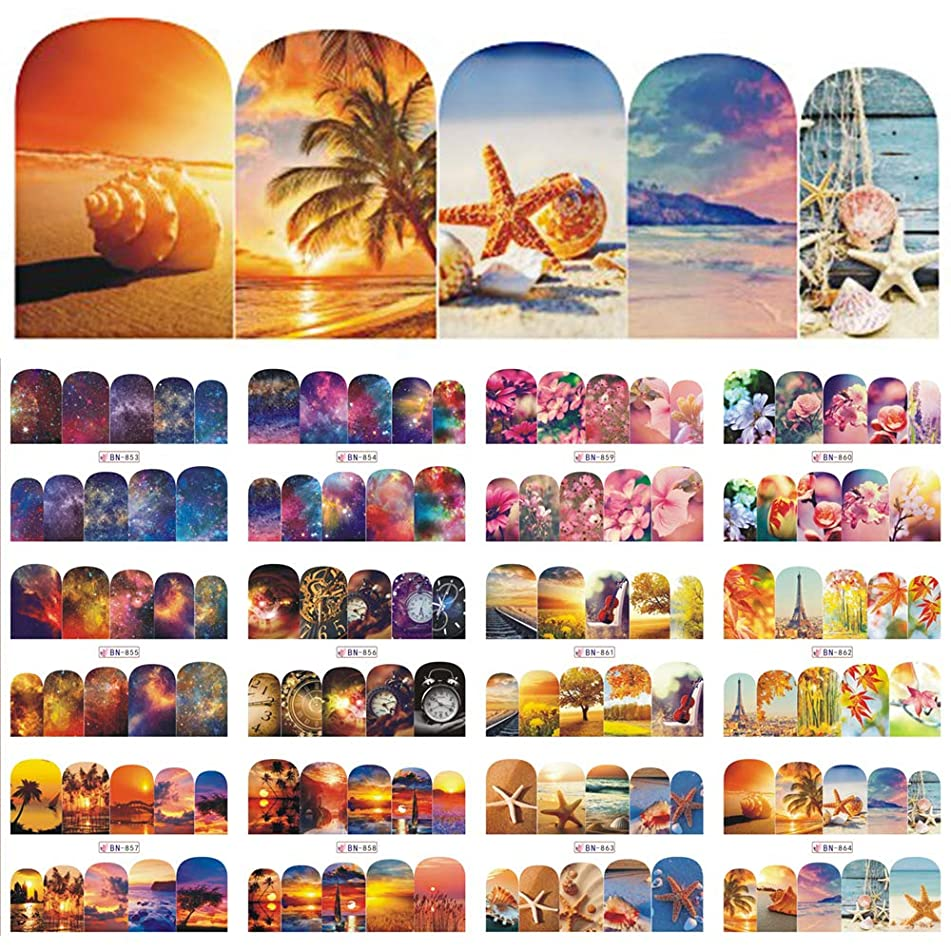12 Designs Nail Polish Sticker Water Decals Summer Beach Starry Sky Floral Slider Nail Art Decor Full Wraps Manicure
