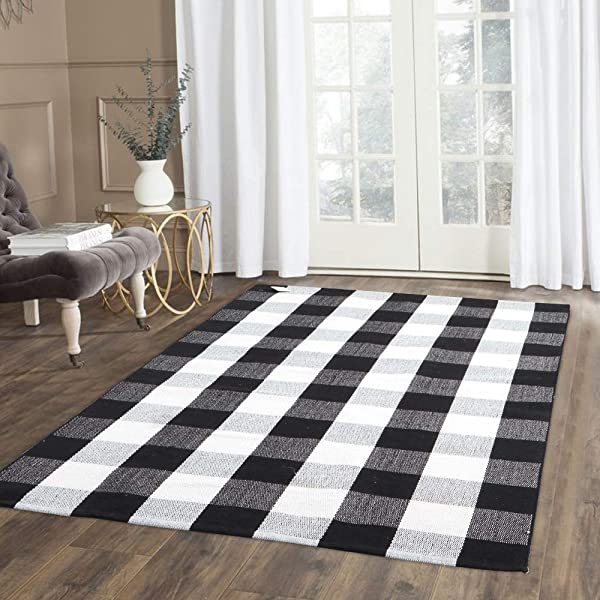 100 Cotton Plaid Rug KIMODE Black White Hand Woven Buffalo Checkered Floor Mats 35 4 X 59 Washable Carpet For Porch Doormat Kitchen Rugs