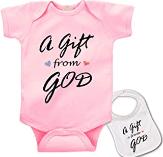 A Gift from God Cute Custom Boutique Baby Bodysuit Onesie & Matching bib