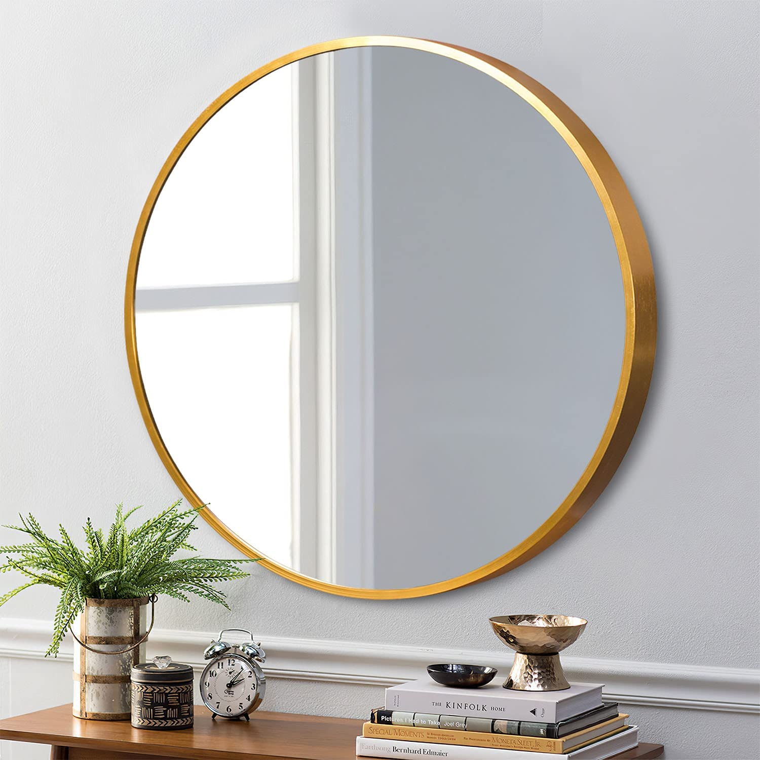 ZHOWI Decor Round Wall Mirror 28 Inch Gold, Circle Wall-Mounted Mirror for Living Room, Entryway, Bedroom and Bathroom, Aluminum Frame and Shatter-Proof Glass (Gold, 28