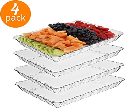 silver collection Rectangular Crystal clear Plastic Trays,  disposable serving Party Platters 9 X 13 -pack of 4-