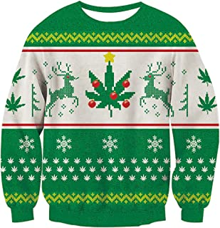 Unisex Reindeer Snowflake Design Ugly Christmas Xmas Pullover Sweater for Teen Junior Boys Girls XX-Large
