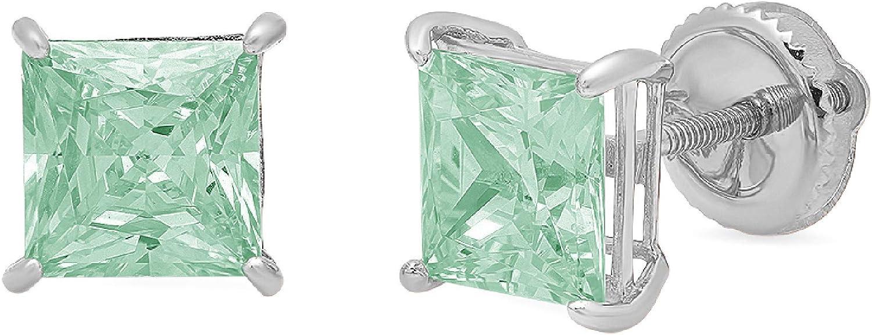 2.94cttw Brilliant Princess Cut Solitaire Fine Genuine Light Sea Green Simulated Diamond CZ Unisex Anniversary Birthday Gift Stud Earrings Solid 14k White Gold Screw Back