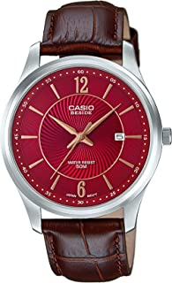 Casio Men's Red Dial Leather Band Watch -BEM-151L-4AVDF
