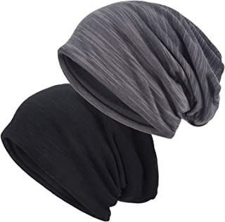 EINSKEY Slouchy Beanie for Men/Women 2-Pack Baggy Skull Cap Summer Winter Knit Hat
