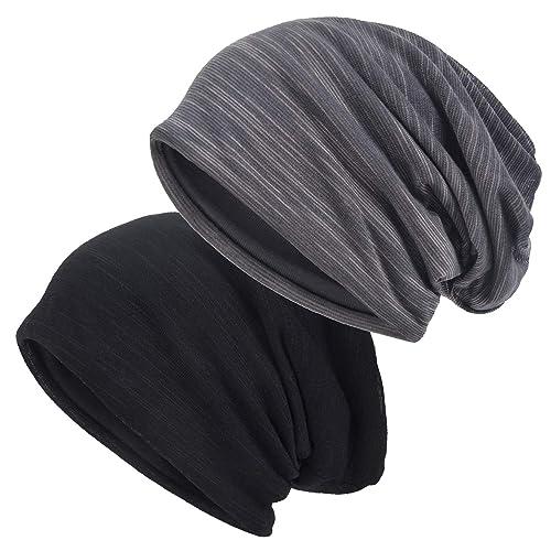 f959d48f062 EINSKEY Slouchy Beanie for Men Women 2-Pack Summer Thin Skull Cap Baggy  Oversize