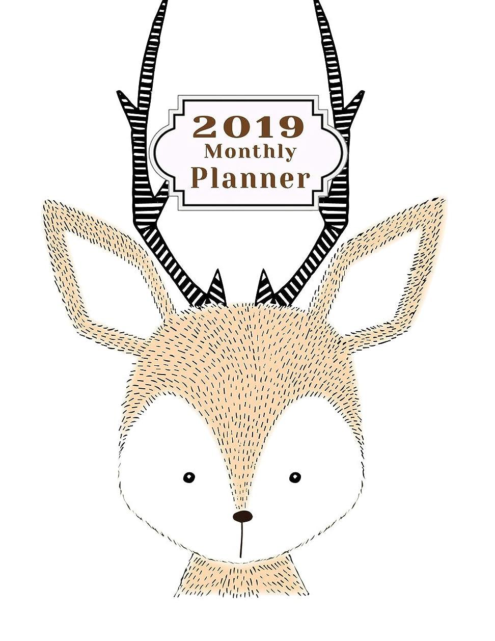 皮逃す魅了する2019 monthly planner: Schedule Beautiful Organizer Lovely Cute hand drawn deer design background Monthly and Weekly Calendar To do List Top goal and Focus (Planner 2019)