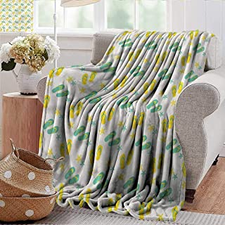 Xaviera Doherty Throw Blankets Fleece Blanket Geometric,Sandals and Starfish Microfiber All Season Blanket for Bed or Couch Multicolor 50
