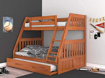 Amazon Com Discovery World Furniture Twin Over Full Bunk Bed With Trundle Honey Furniture Decor