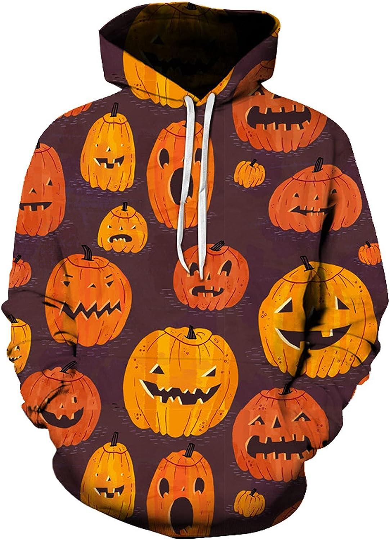 BEUU Halloween Hoodies for Mens, 3D Funny Pumpkin Jack-o-Lantern Print Hooded Sweatshirts Athletic Casual Pullover
