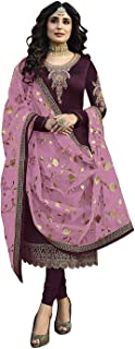 Women's Satin Georgette Fabric Embroidered Straight Suit with Heavy Dupatta | Wine, 50