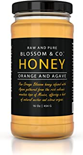 Blossom & Co. 100% Raw Orange Blossom Honey and Agave Nectar, 16 Ounces - Glass Jar