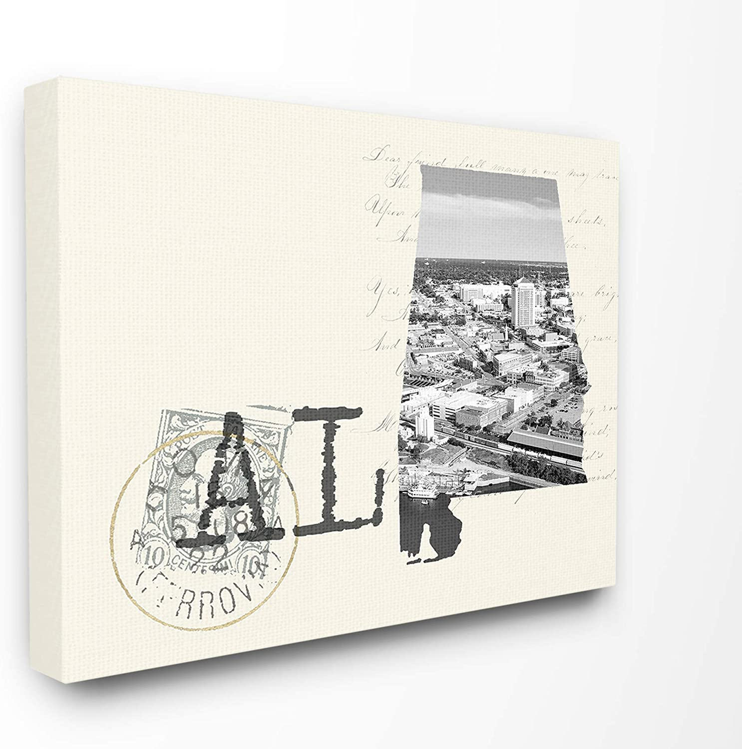 The Stupell Home Decor Alabama Black and White Photograph on Cream Paper Postcard Stretched Canvas Wall Art, Multicolor