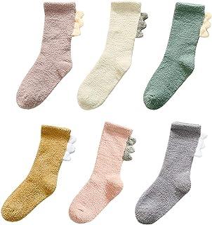 LIUCHENGHANG - Calcetines Largos de Invierno para Niños Bebé Zapatillas de Primer Paso Calentito Suave Transpirable Zapato de Primer Paso Anti-slip de Modelo de Dinosaurio - 18-24 Meses