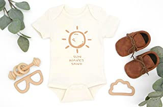 Sun Waves Sand Organic Cotton Baby Bodysuit, Summer vibes Infant Romper, New Baby Coming Home Outfit, Eco Friendly Baby Shower Gift