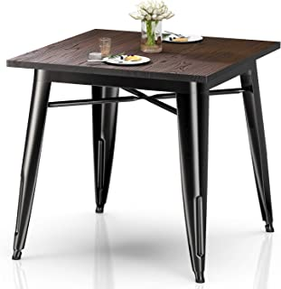 VIPEK Heavy-Duty Metal Dining Table w Solid Wood Top...