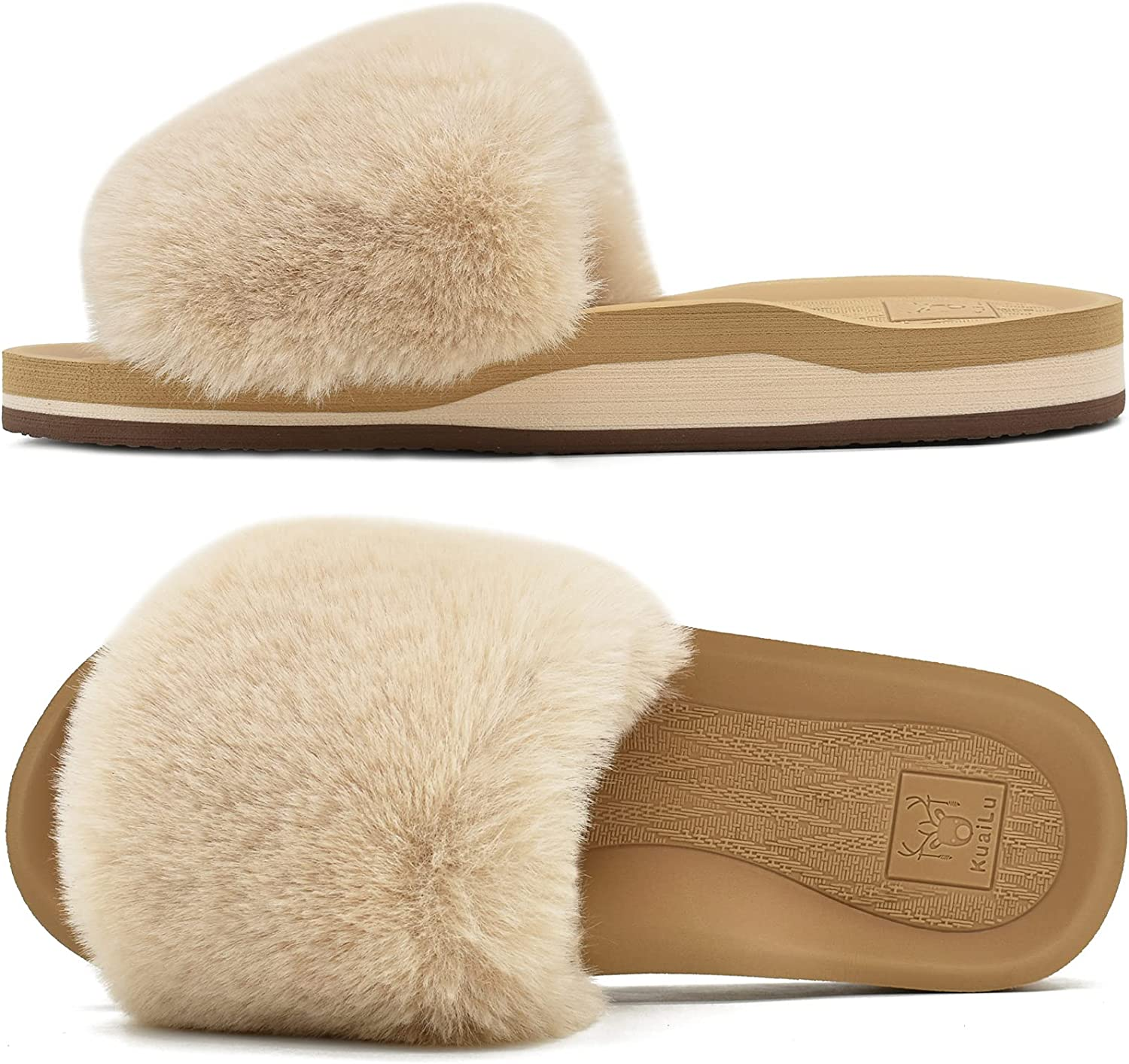 KuaiLu Womens Slides Ladies Plush Fluffy Flat Sandals Open Toe Slippers For Women With Plantar Fasciitis Arch Support For Indoor Outdoor