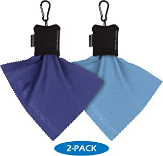 """MightyMicroCloth Microfiber Eyeglass Cleaning Cloth (2-Pack) in Pouch with Durable Carabiner Clip – Lens Cleaner for Eye Glasses, Lenses, Screens, Cameras & Electronics 6"""" x 7"""" Blue Cloths"""