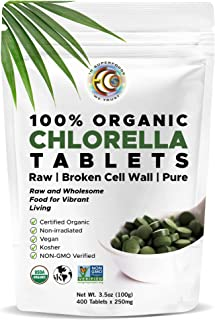 Earth Circle Organics, premium Chlorella tablets, USDA Organic, Kosher, highest potency, pure Chlorella raw superfood, cra...