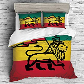 Cotton Duvet Cover 4 Pcs Comforter Cover Set Breathable and Skin-Friendly Bedding Set(Queen Size) Rasta,Judah Lion with a Rastafari Flag King Jungle Reggae Theme Art Print Decorative,Black Green Yell