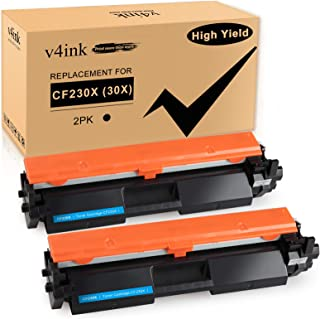 v4ink 2PK Compatible Toner Cartridge Replacement for HP 30X 30A CF230X CF230A Toner High Yield Black Ink for HP Laserjet P...
