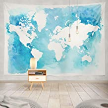 Summor Tapestry Vintage White Map World Blue Watercolor Hanging Tapestries 60 x 80 inch Wall Hanging Decor for Bedroom Livingroom Dorm