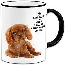 Funny Mugs Keep Calm and Hug A Cavalier King Charles Spaniel (Ruby) - Gift Mug + Black Handle/Rim