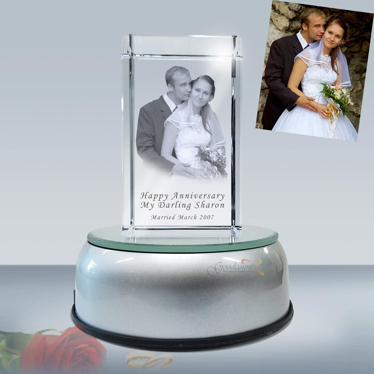3D Crystal Photo Etching Cheap mail order sales Cube with Lighted Rotate Base Max 51% OFF Cust LED