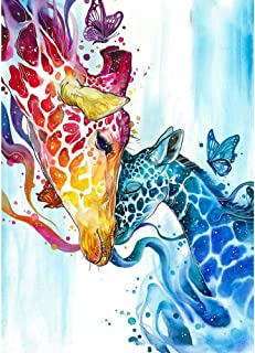 Tofover Paint by Numbers for Adults, Full Drill Giraffes 5D DIY Diamond Painting Kits Embroidery Paintings Pictures Arts Craft Cross Stitch