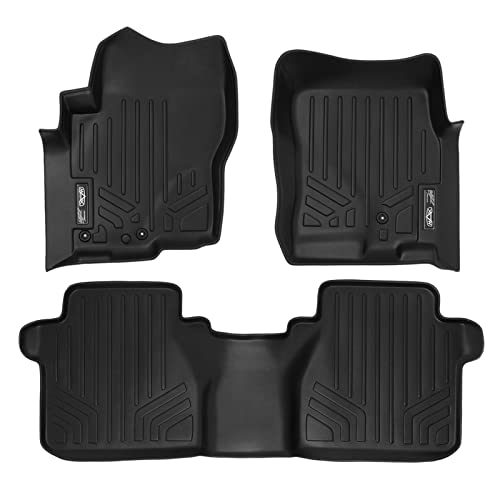 SMARTLINER Floor Mats 2 Row Liner Set Black for 2005-2018 Nissan Frontier Crew Cab