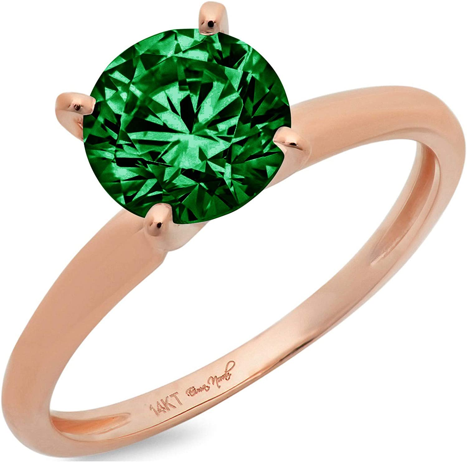 2.9ct Brilliant Round Cut Solitaire Flawless Simulated Cubic Zirconia Green Emerald Ideal VVS1 4-Prong Engagement Wedding Bridal Promise Anniversary Designer Ring in Solid 14k Rose Gold for Women
